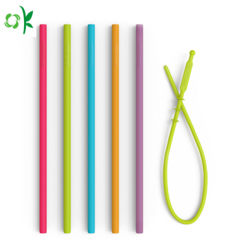 Embossed Logo FDA Silicone Straw for Bar Accessories
