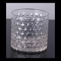Glass Embossed Candle Cup Diamond