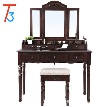 7 Drawers Vanity Set, Tri-folding Hooked Mirror, 6 Organizers Makeup Dressing Table Furniture with Cushioned Stool