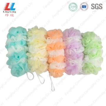 Light color long bath sponge ball