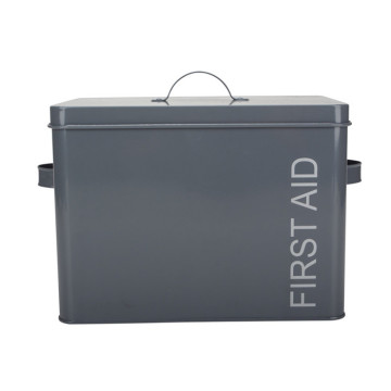 Grey Metal Vintage First Aid Medical Box
