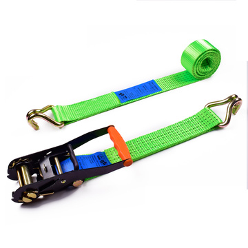 "2"" 5 Ton 50mm Orange Finger Handle Ratchet Buckle Cargo Tensioner Lashing Belt With 2 Inch Double J Hooks"