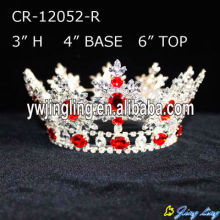 Full Round Red Rhinestone Beauty Queen Crown