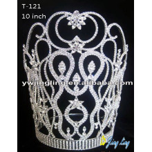 "10"" Rhinestone Flower Round Tiara Crown"