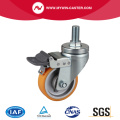 Medium 4 Inch 300Kg Threaded Brake TPU Caster
