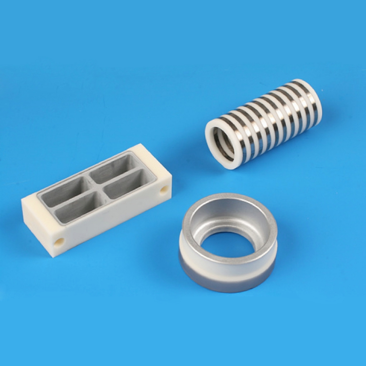 High voltage feedthru metallized ceramic insulators