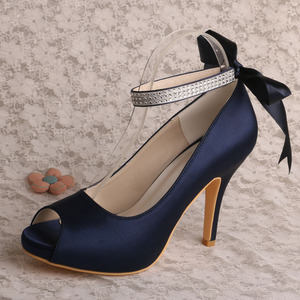 Factory source for Bridesmaid Shoes,Wedding Bridesmaid Shoes,Purple Bridesmaid Shoes Manufacturer in China Ankle Strap Navy Blue Satin Shoes for Party supply to Poland Wholesale