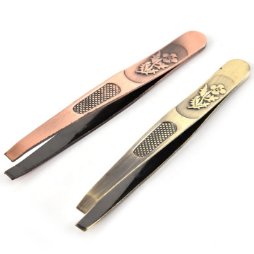 Manufacturers selling beauty tools stainless steel flat eyebrow tweezers decorative pattern beauty threading clip