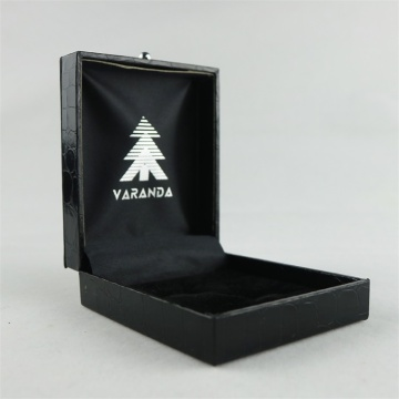 High Quality PU Leather Black Plastic Cufflink Box