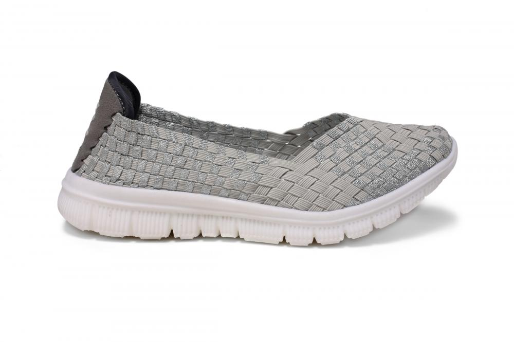 Light Gray Woven Pumps