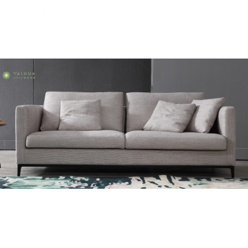 Light Three-seat Sofa With Fabric Cushion