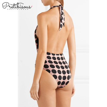 Women V neck dots print swim wear