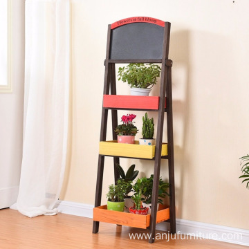 Creative Blackboard Flower Stand Collapsible Flower Frame Solid Wood Balcony Pots Shelf