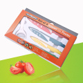 SET 4 COLORED KNIVES WITH PEELER