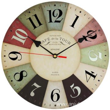 Silent Battery Operated Non Ticking 12 inch Vintage Colorful Wood Wall Clock