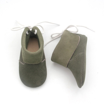 Baby Shoes Green Shoelace Leather Shoes