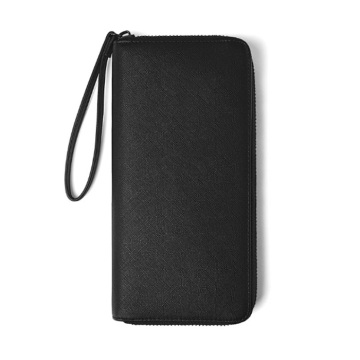 Men's Leather Long Credit Card Holder Strap Wallet