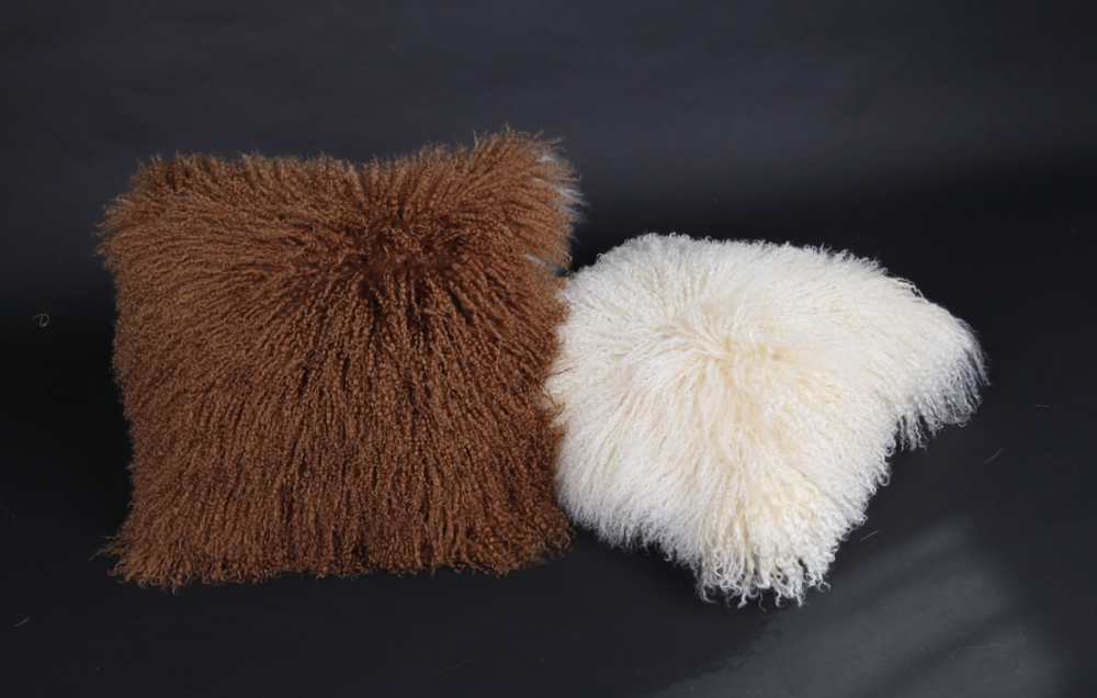 Long Curly Hair Tibetan Lamb Fur Cushion