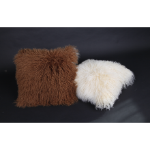 Best Price for for Mongolian Lamb Fur Lumbar Pillow Long Curly Hair Tibetan Lamb Fur Cushion supply to East Timor Factories