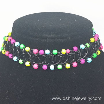 China for Factory of Tattoo Choker, Tattoo Choker Diy, Black Tattoo Choker from China Women Fashion Necklace Multi Indian Beads Tattoo Choker export to Belarus Factory