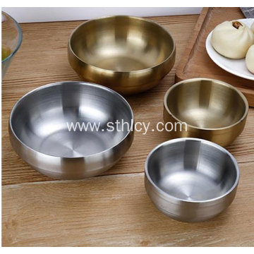 Thickened 304 Stainless Steel Bowl With Gold Plate
