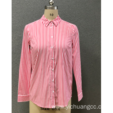 women's red stripe shirt