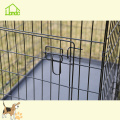 Portable Folding Double Door Black Pet Dog Cage