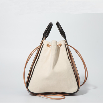Korean style contrast simple removable tote bucket bag