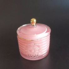 Pink Elegant Crystal Glass Candy Box Glass Storage Jar