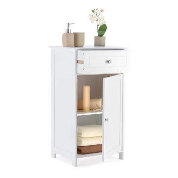 Single Door Drawer Cupboard MDF Small White Wooden Bathroom Storage Cabinet Single Door Drawer Cupboard MDF