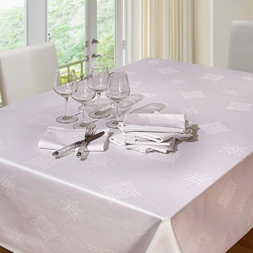 White cotton damask square table cloth
