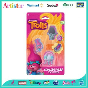 TROLLS 3 pack erasers (pencil toppers)