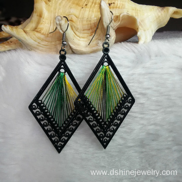 Customized Handmade Thread Leaf Earrings Alloy Hook Earrings