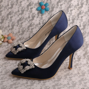High Performance for Elegant Flat Bridesmaid Shoes Navy Blue Special Occasion Shoes Bridal export to Italy Wholesale