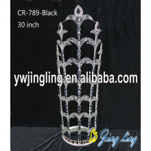 30 Inch Black Rhinestone Tiaras Metal Crown