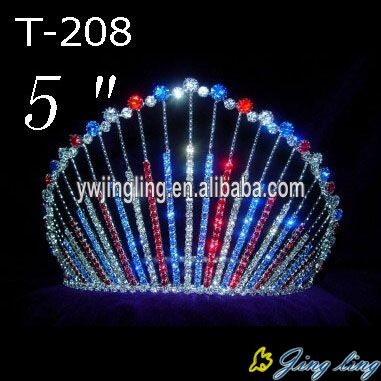 5 Inch Red Blue Clear Rhinestone Pageant Crown