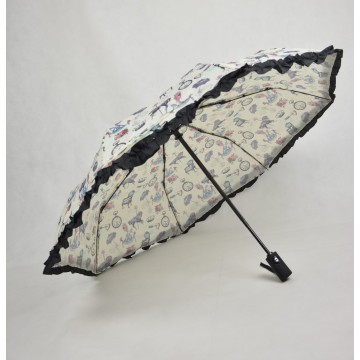 New Hot  windproof 3fold parasol lace umbrella