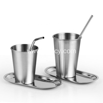 304 Stainless Steel Cup with Chassis and Straw