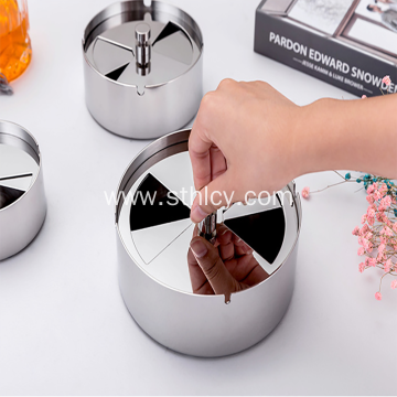 Stainless Steel Ashtray With Lid Rotating Windproof Ashtray