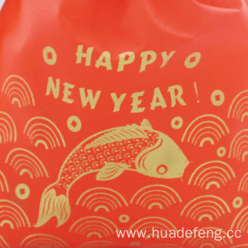 Golden Fish Red Non-woven New Year Drawstring Bags