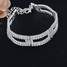 China for JingLing New Style Bracelets Cheaper Lady Jewelry Rhinestone And Copper Materials Fashion Women Bracelets Silver And Gold Silver/Gold Plated Crystal Bracelets & Bangles export to France Metropolitan Factory