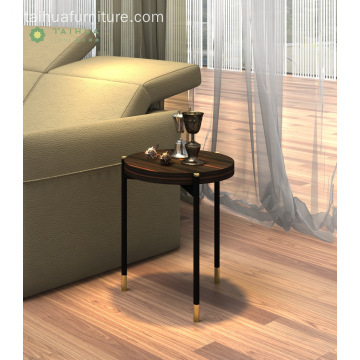 Madilim na Wenge Round Side Table na may Metal Frame