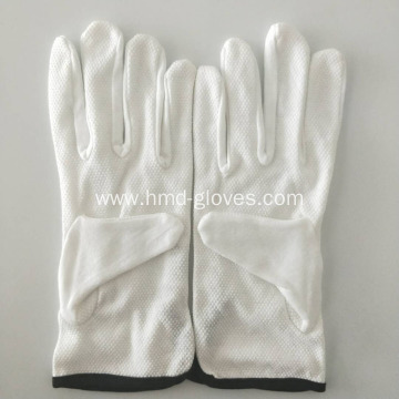 White Cotton Dotted Gloves