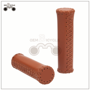 Hand-made PU Material Brown Bicycle Grips