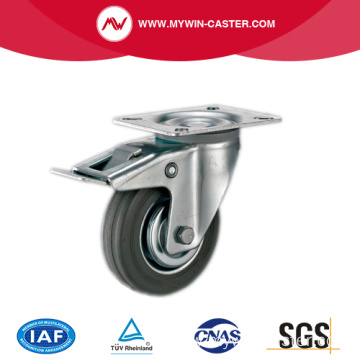Braked Swivel Grey Rbber Metal Core Caster