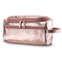 Rose Gold Travel Pu Cosmetic Bag with Handle