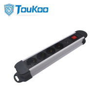 Surge protected German 4 way power strip