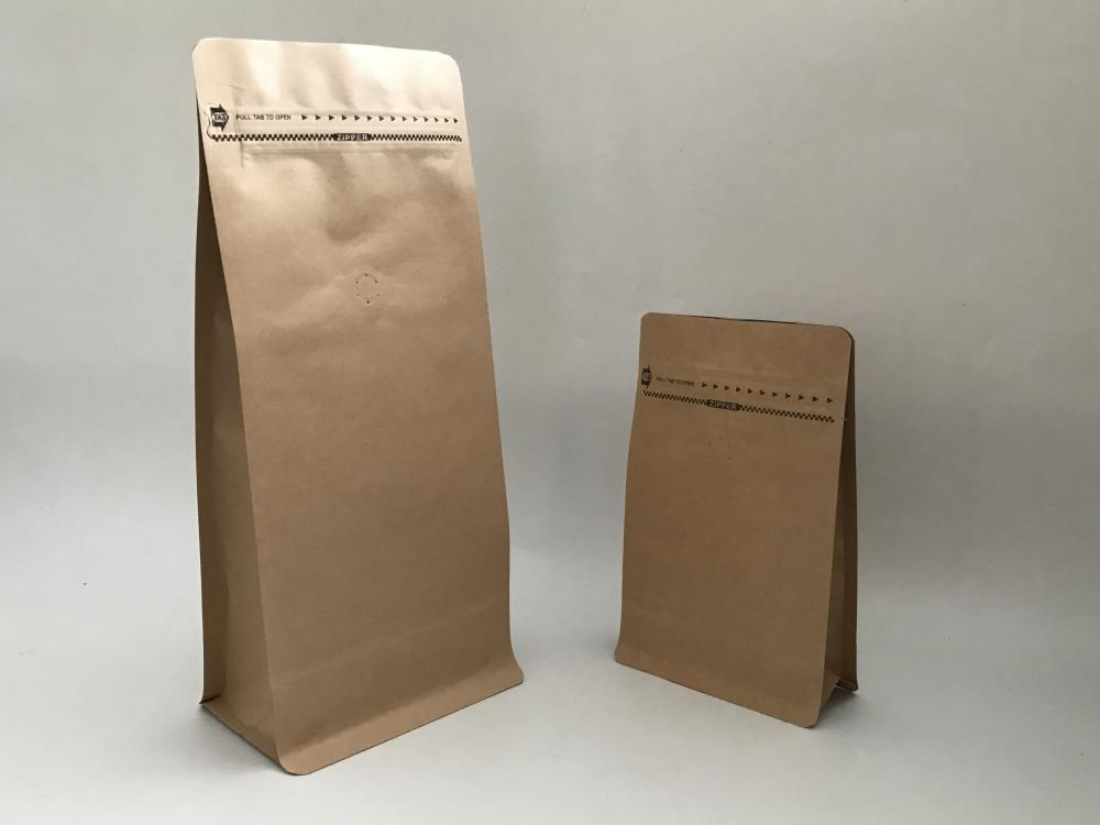 Kraft Paper Flat Bottom Pouch With Pocket Zipper