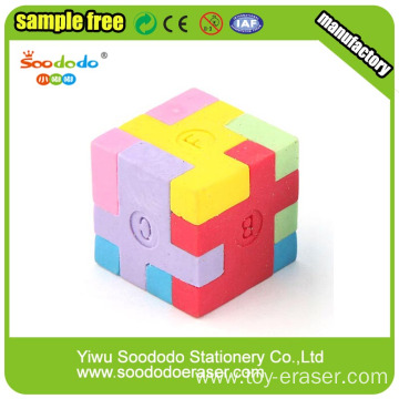 3D Colorful Mini TPR Assembled Puzzle Cube Eraser