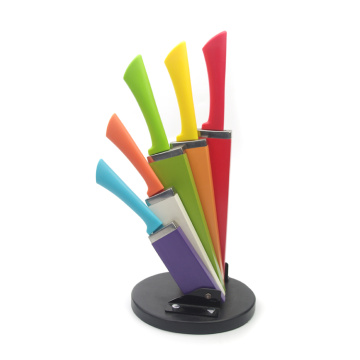 6pc rainbow knife set with folding block